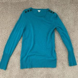 Teal J.Crew sweater with shoulder button detail.